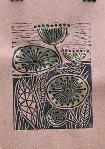Lino Cut with Gold Leaf